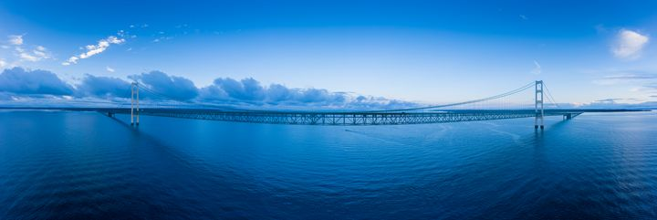 Mackinac Bridge Aerial Panorama - Steve Gadomski