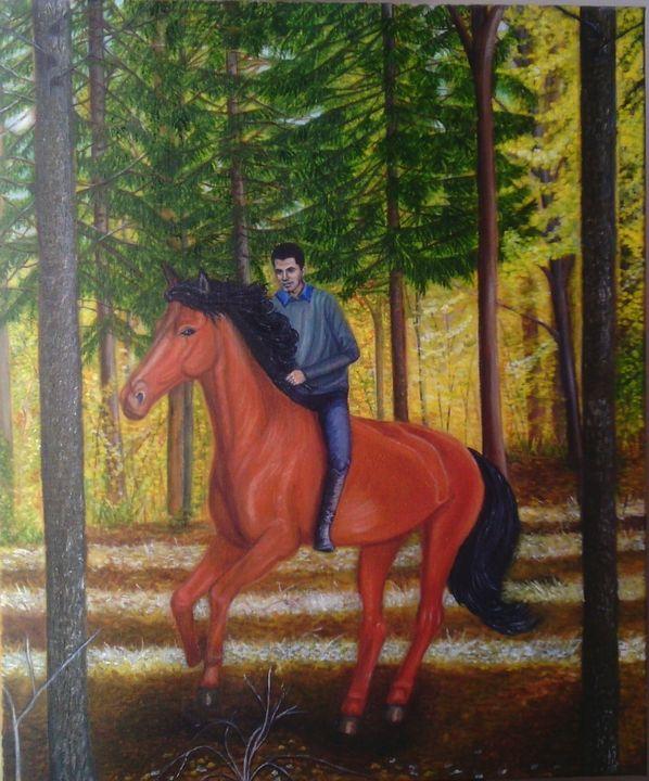 Rider in the forest - Vanda Kikavska +3  8 050 6969819