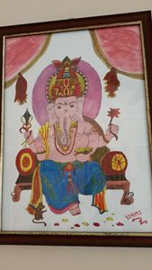 Watercolour painting of Lord Ganesh