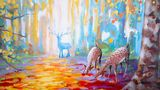 Colourful autumn landscape painting,