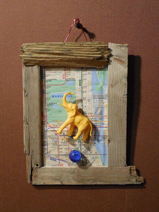Yellow Elephant Hovering Over Blue.. - Jim Ramirez