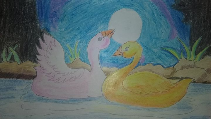 Duck scenery drawing by hand - Scenery Arts