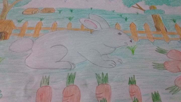Rabbit with carrots - Scenery Arts