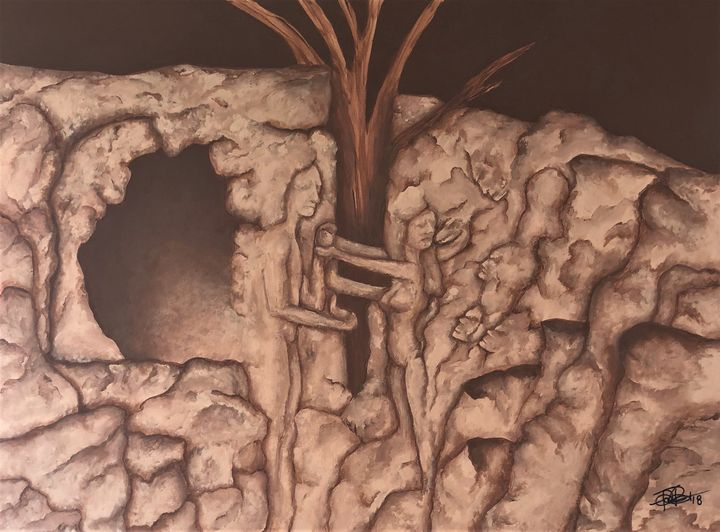 Adam and Eve Original Artwork - Painted Texture
