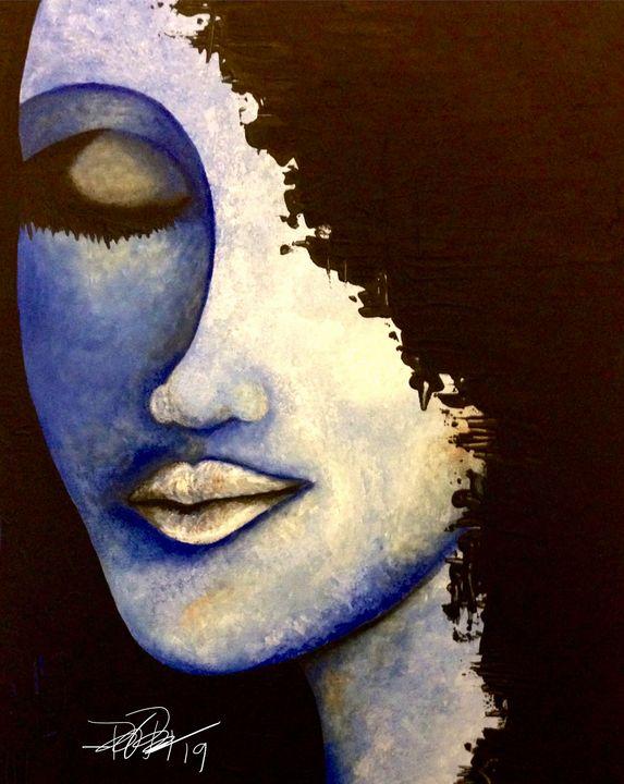 Blue Portrait - Painted Texture