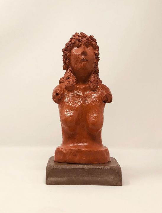 Female Bust, hand formed clay - Painted Texture