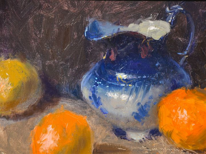 Flo Blue Pitcher and Oranges- Mundy - Guarisco Gallery