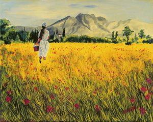 Red Flowers and Yellow Field