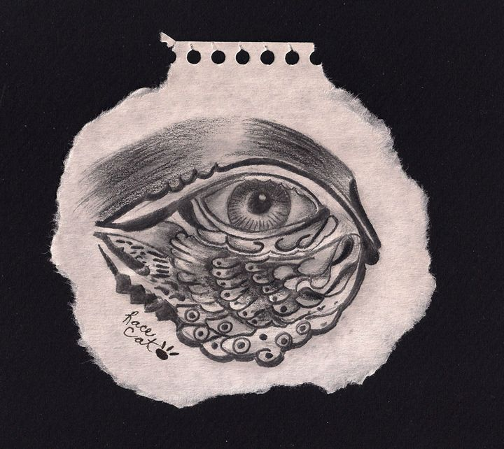 Pencil sketch of decorative eye - Racecat7