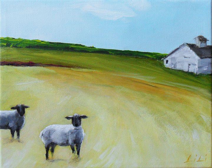 Sheep and a barn - LiLiArtStudio