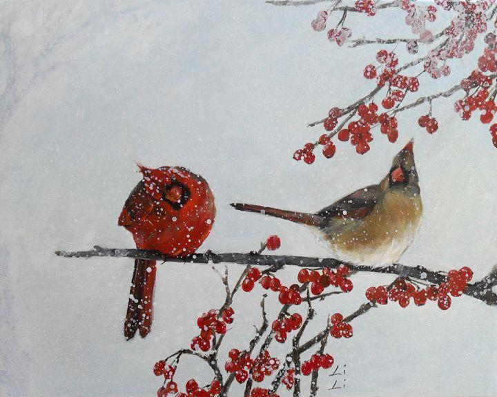 A pair of cardinals - LiLiArtStudio