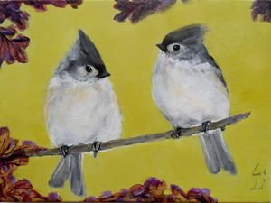 A pair of titmouse birds