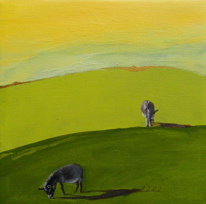 Two donkeys - LiLiArtStudio