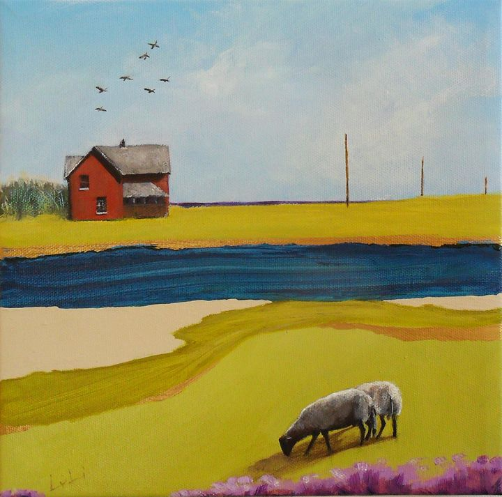 Sheep and a red house - LiLiArtStudio