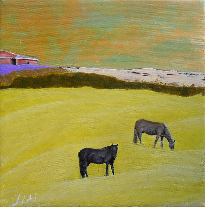 Two horses and a barn - LiLiArtStudio
