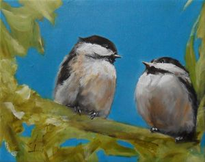 A pair of chickadee birds