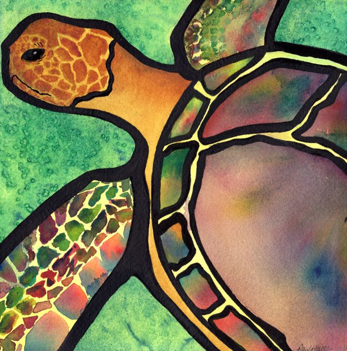 Sea Turtle - Art by Paula Hall