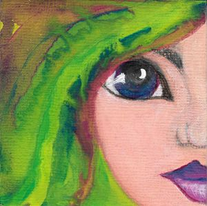 Green Whimsical Girl - Art by Paula Hall