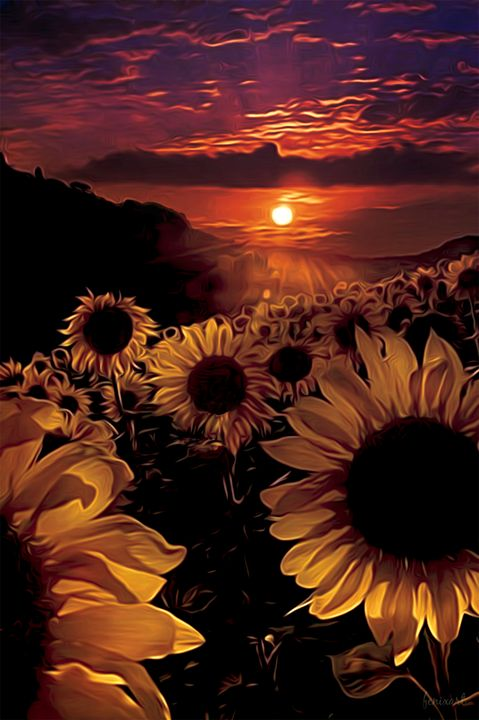 Firey sunflowers - Phoenix Art Works