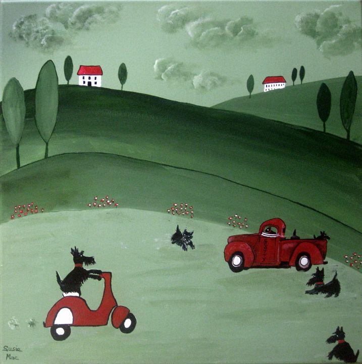 Naughty Scottie puppys - Susie Mac Art