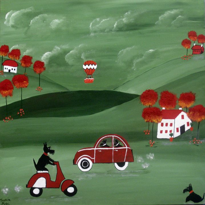 Scotties and the hot air balloon - Susie Mac Art