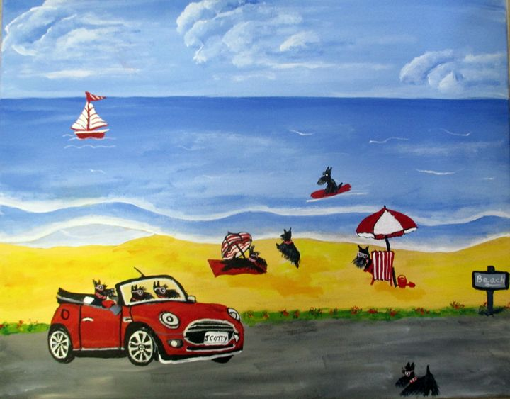 Hamish and sports car - Susie Mac Art
