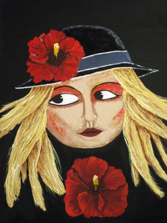 Red Hibiscus Lady - Susie Mac Art