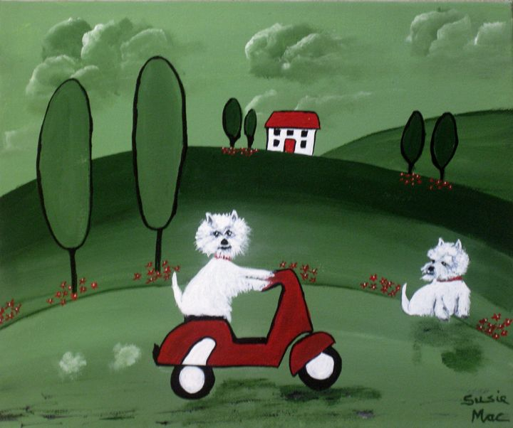 Westies with the Scotty Scooter - Susie Mac Art