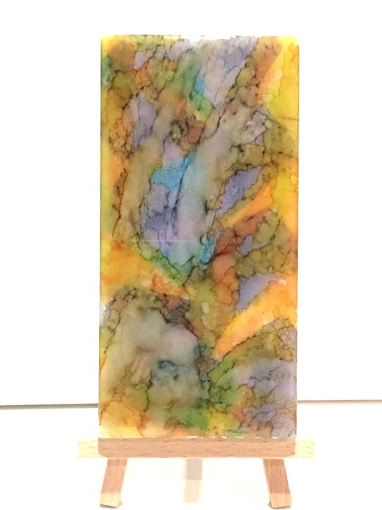Alcohol Inks on polished Marble - New World Imagery