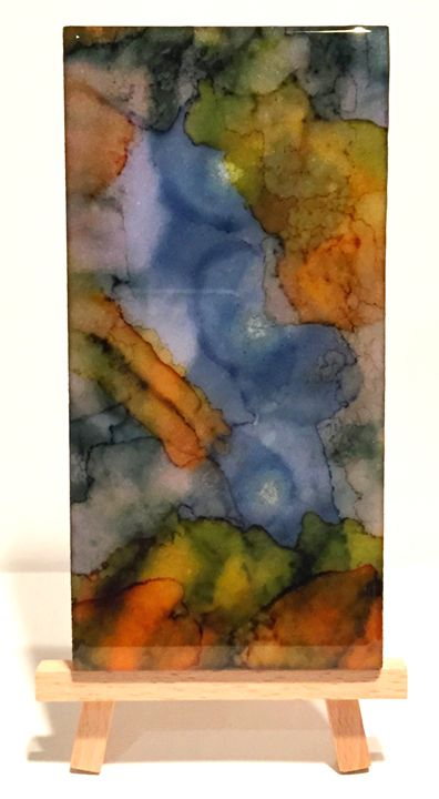 Alcohol Inks on polished Venatino Ma - New World Imagery