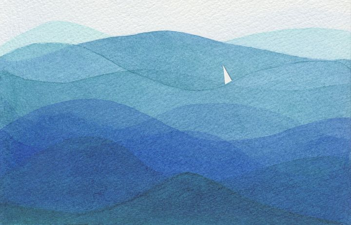 Single Sail In a Big Ocean - EwaPix Paintings