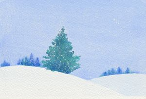 Winter Tree in Falling Snow - EwaPix Paintings