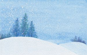 Winter Trees in Blue Landsscape - EwaPix Paintings