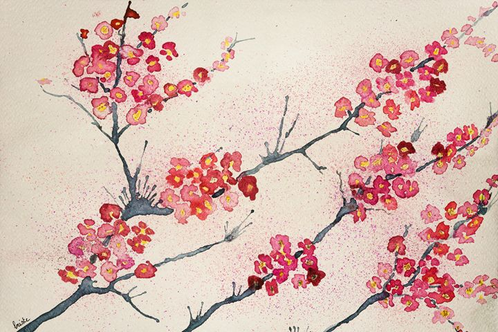 Cherry blossoms tinted background - BRISTE