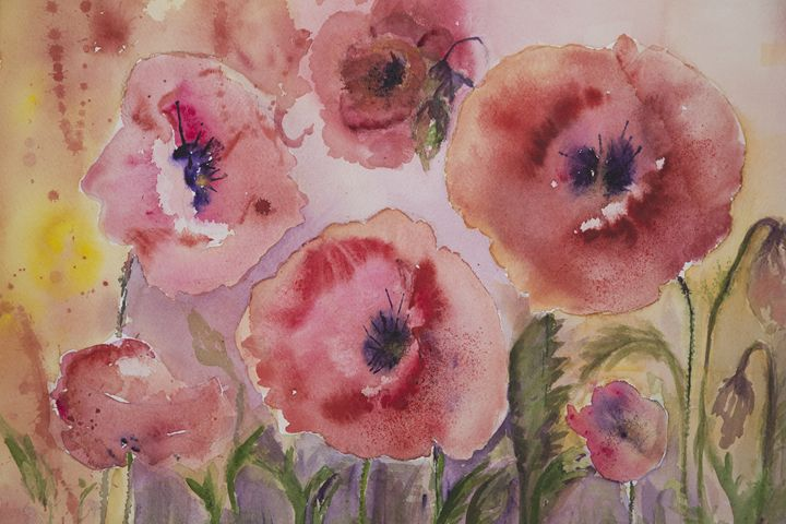 Naive poppies with yellow and pink b - BRISTE