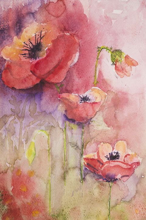 Poppies with pink and purple - BRISTE