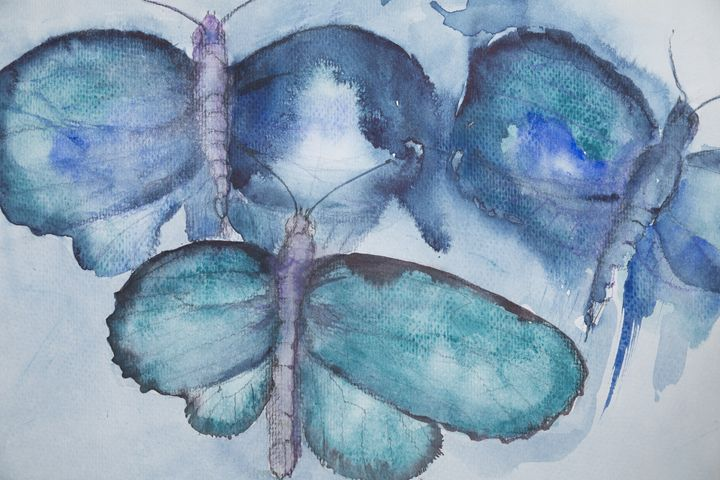 Flying turquoise butterflies - BRISTE