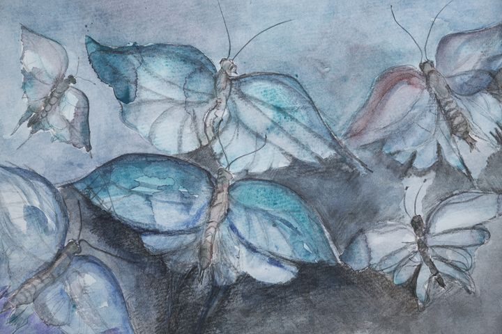 Flying butterflies in the blue hour - BRISTE