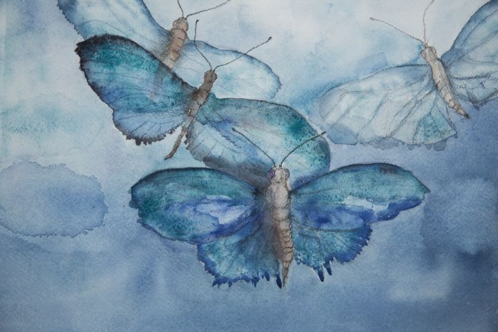 Flying blue butterflies in the sky - BRISTE