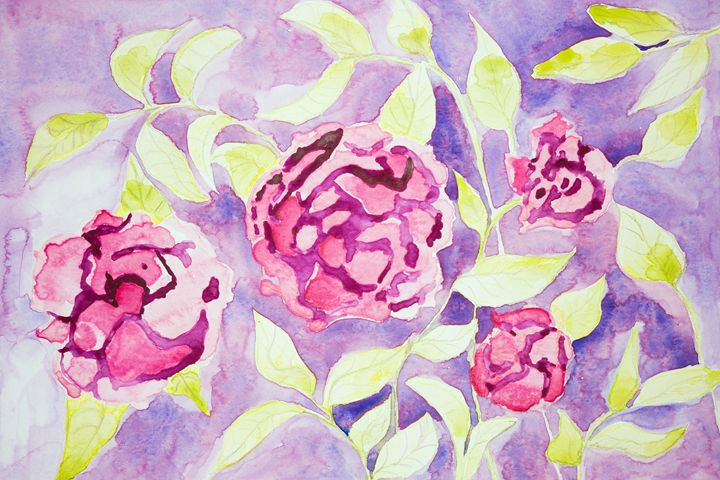 Rose fantasy flowers on a lilac back - BRISTE