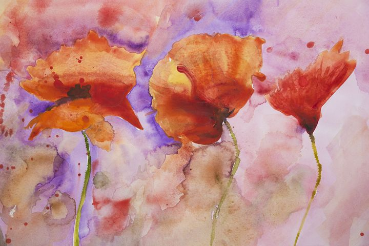 Psychedelic splashed poppies - BRISTE