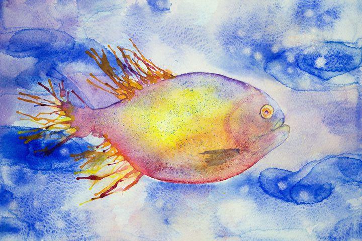Multi coloured fantasy fish swimming - BRISTE