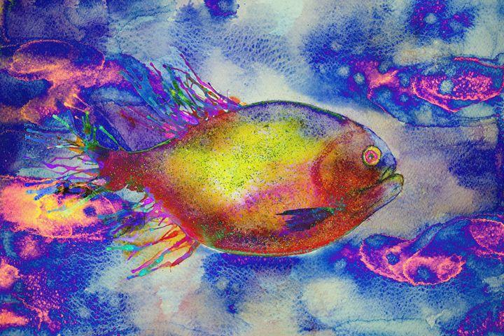 Psychedelic fish swimming in a stran - BRISTE