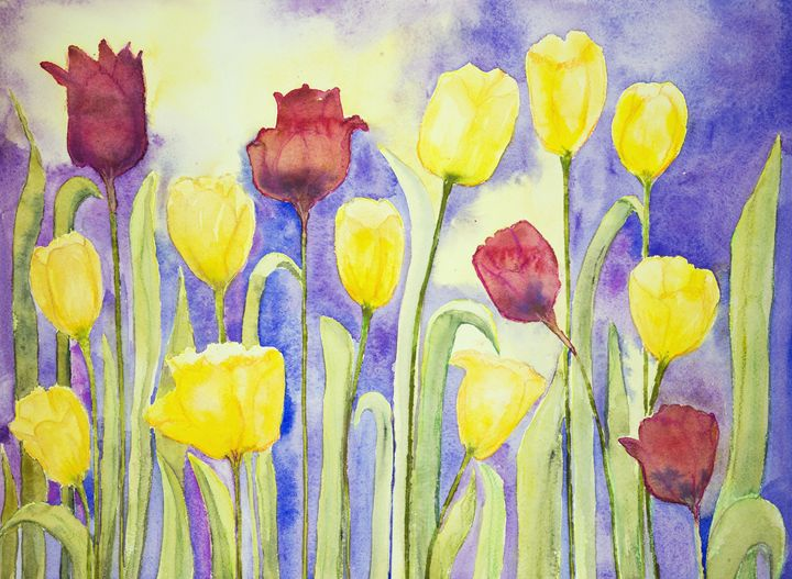 Yellow and red tulips on a lilac and - BRISTE
