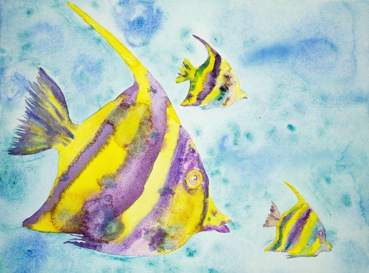 Yellow and purple fantasy fish. - BRISTE