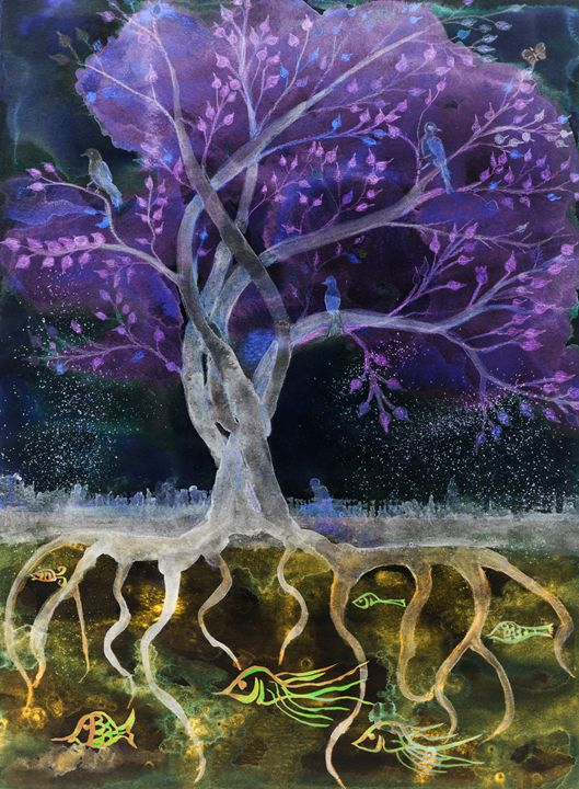 Purple tree of life in the night. - BRISTE