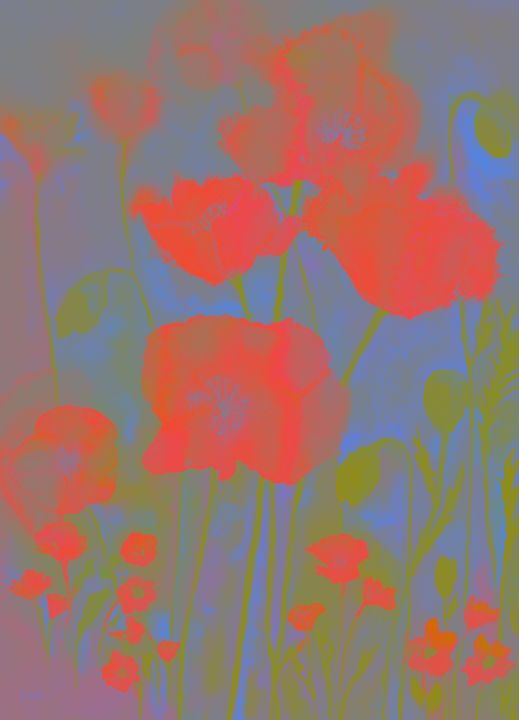 Poppies in simplified colours. - BRISTE