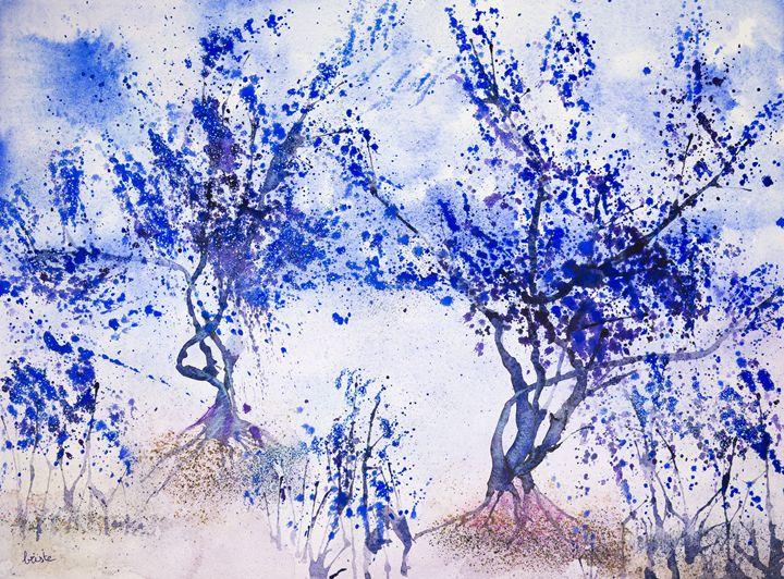 Impression of blue trees against a l - BRISTE
