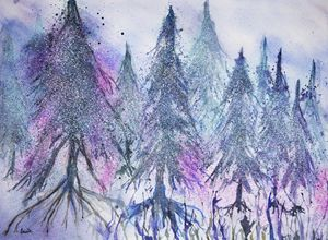 Forest of pine trees in fantasy snow