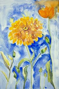 marigold on a blue background. The d - BRISTE